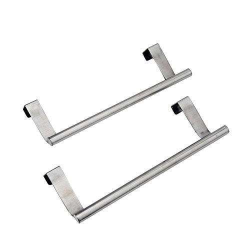 "Evelots Set of 2 Over Cabinet Door Dish Towel Bar Holders, 9.37"" Stainless Steel"