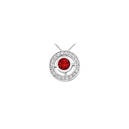 (Ruby and Diamond Circle Pendant 14K White Gold 0.50 CT TGW)