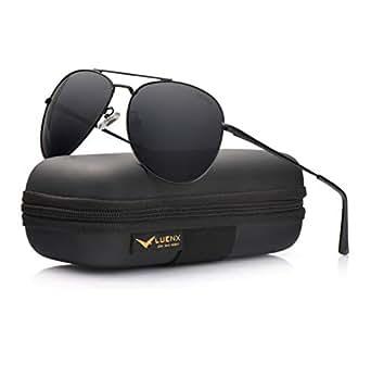 LUENX Aviator Sunglasses Men Women Polarized with Case - UV 400 Non Mirror Black Lens Metal Black Frame 60mm