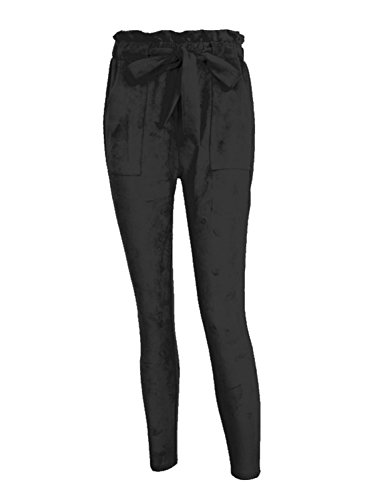 Simplee Women's Casual Loose High Waist Faux Suede Stretchy Skinny Harem Pants Black