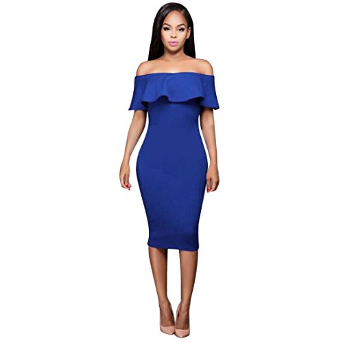Women's Dress,Neartime Bodycon Sleeveless Ladies Off The Shoulder Dresses (S, Blue)