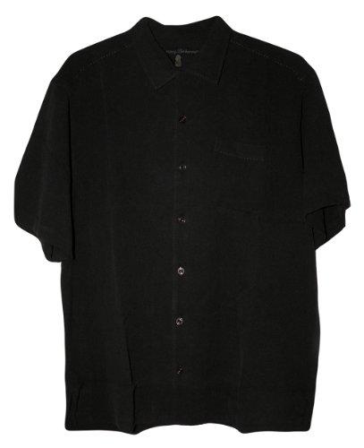 Tommy Bahama Catalina Twill Silk Camp Shirt (Color: Black, Size L) - Silk Twill Shirt