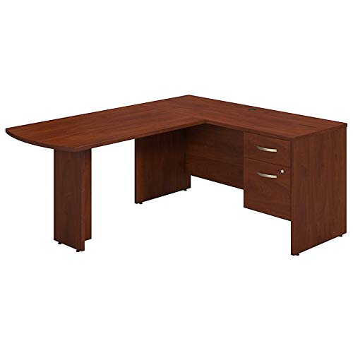 Bush Business Furniture Series C Elite 60W x 24D L-Desk with 3/4 Pedestal in Hansen Cherry
