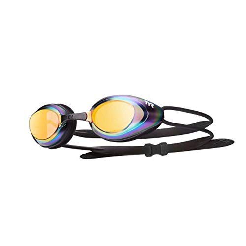 Pro Racing Goggles - TYR Black Hawk Racing Mirrored Goggles, Gold Metal Rainbow Black, One Size