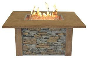 The Outdoor GreatRoom Company Sierra Fire Pit with Super Cast Top in Mocha with Rectangle Burner