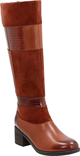 (CLARKS Women's Nevella Nova Knee High Boot, Tan Cow Full Grain Leather/Leather/Goat Suede)