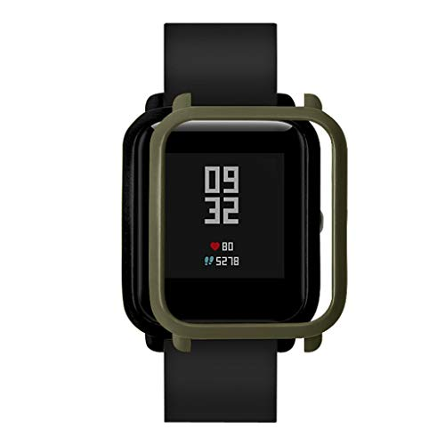 OUBAO PC Case Thin Cover Cover Protect Colorful Shell for Xia omi Huami Amaz fit Bip Youth Watch with Screen Protector (Army Green) by OUBAO (Image #2)