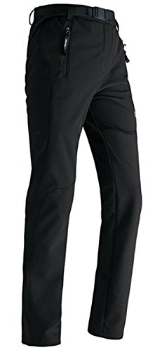 SANKE Women's Sport Warm Hiking Fleece Inside Softshell Pants Black Size XX-Large