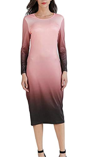 Sodossny-au Mode Des Femmes Ras Du Cou À Long Dégradé De Couleur Manches Midi Robe Crayon Rose