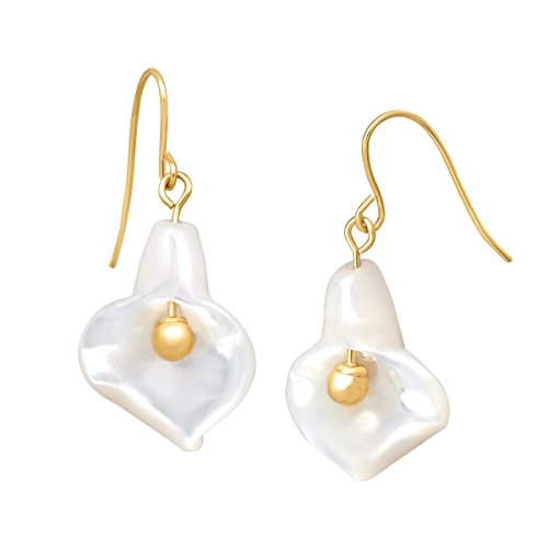 14K Gold Mother-of-Pearl Calla Lily Drop Earrings