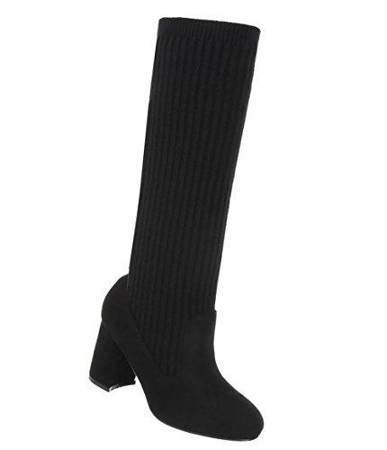 Schuhcity24 Damen Schuhe Stiefel Moderne Schwarz