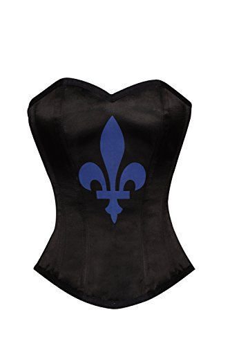 時系列破壊的横にBlack Satin Blue flower-de-luce Printed Burlesque Waist Training Overbust Corset
