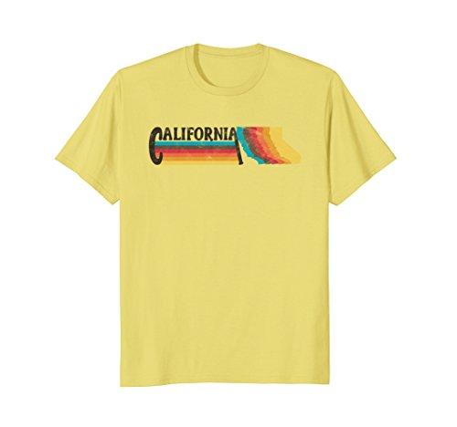Mens RETRO 70s 80s STYLE CALIFORNIA Rainbow Silhouette TShirt Medium - Style Mens California