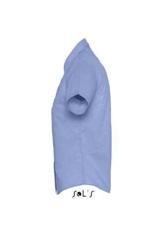 Sols - Escape - Damen Popeline Bluse Kurzarm , Medium Blue , S