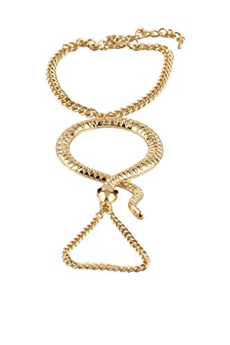 JOTW Goldtone Snake Adjustable Finger Ring and Hand Chain Bracelet (F-663) -