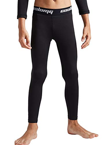 COOLOMG Boys Girls Thermal Compression Pants Base Layer Tights Sports Fitness Running (Black (only Pants), Large)