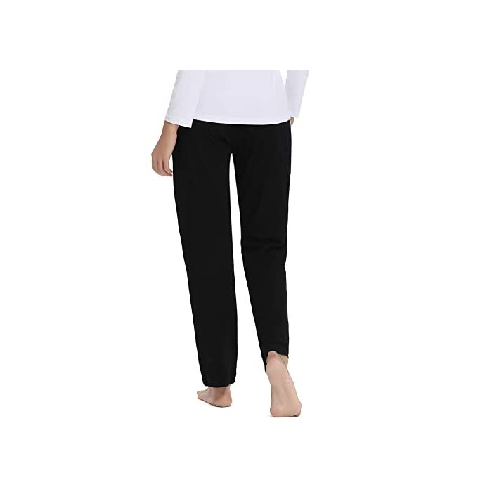 31fBMBVinFL Pantalón largo para deportes, dormir y también para la calle. Los elegantes pantalones de ocio son adecuados para muchos deportes, correr, hacer ejercicio o en el gimnasio. Y también puede como un sudor informal en el tiempo libre. Pantalones de mujer con rayas en los laterales, con cintura elástica con cordón y dos bolsillos. 100% Algodón