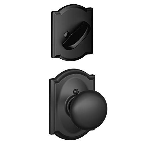 Schlage Lock Company F59PLY622CAM Plymouth Interior Pack Knob Set with Single Cylinder Deadbolt, Matte Black Copper Handlesets Single Cylinder