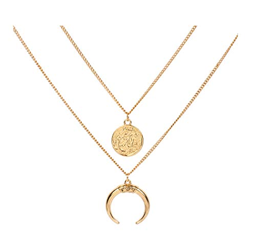 Eoumy Multi Layered Moon Necklace Gold Bohemian Coin Crescent Moon Pendant Necklace for Women