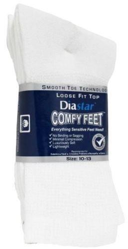 Diastar Comfy Feet Diabetic Socks, White, 10-13, by Diastar