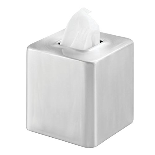 mDesign Square Metal Facial Tissue Box Cover Holder for Bathroom Vanity Counter Tops, Bedroom Dressers, Night Stands, Desks and Tables - Rustproof Aluminum with Brushed Finish