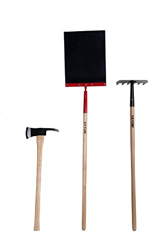 KYLIN Firefighter Hand Tools Set Include McLeod Rake Fire Axe Swatter Flapper with Ash Wood -