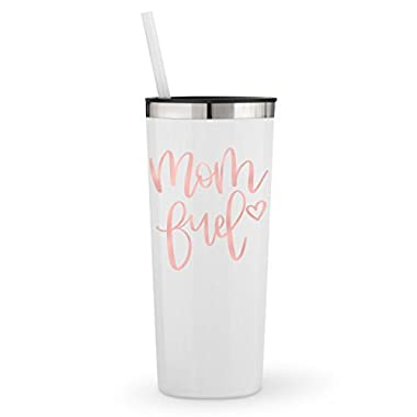 Mom Fuel in Rose Gold Metallic Vinyl on a 22oz White Powder Coated Stainless Steel Tumbler
