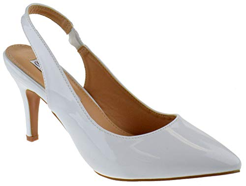 (Coshare Sanzi 1 Women's Fashion Front Low Kitten Heel Pumps White 7.5)