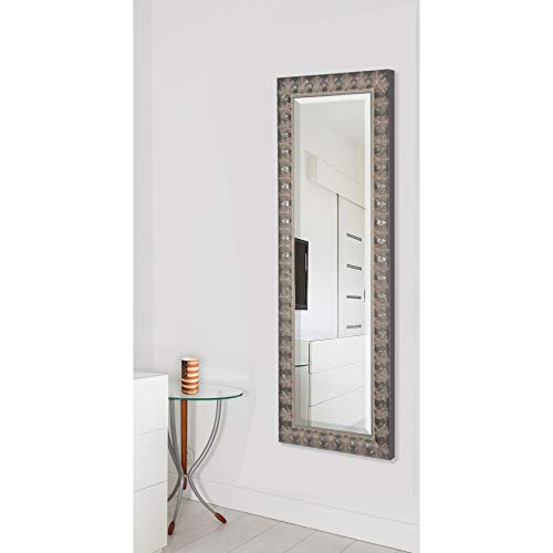 Rayne Mirrors American Made Beveled Full Body Mirror, 27 by 65-Inch, Feathered Mahogany Accent