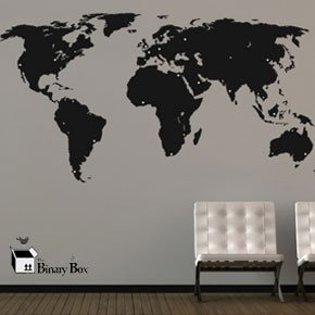 Large World Map Wall Sticker (Black Map, White Dots): Amazon.co.uk ...