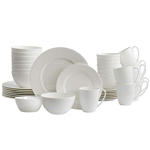 Mikasa Stanton 40 Piece Dinnerware Set, Service for 8, White (Best Bone China Dinnerware)