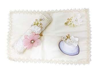 Salve Regina Hand Made Catholic Christening/Baptism Kit for Baby Girls - Model 14 - Beige - Medium