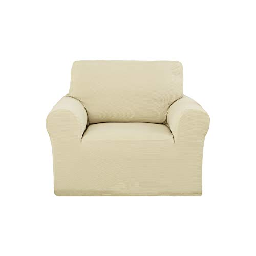 Deconovo Woven Jacquard Strapless Sofa Slipcover Modern Solid Color Stretch Sofa Armchair Cover Beige