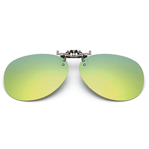 Tacloft Unisex Aviator 62mm Polarized Metal Clip-on Sunglasses Unbreakable Driving Fishing Outdoor Sport Snap on Glasses CLIP0N003 Green - Snap On Sunglasses