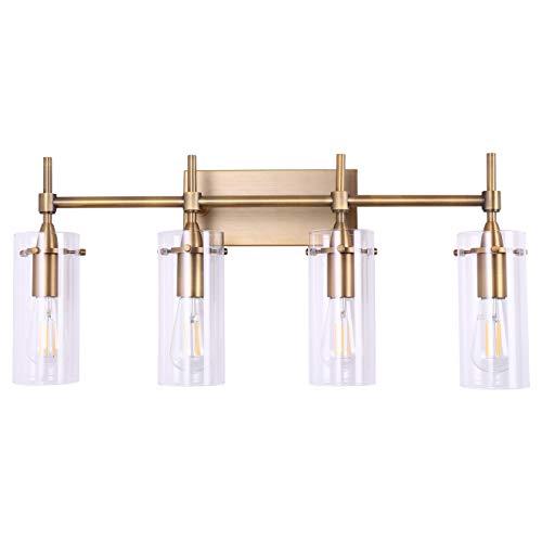 (Effimero 4 Light Bathroom Vanity Light | Antique Brass Hallway Wall Sconce- LL-WL34-3AB)