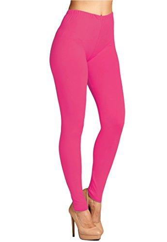 - Leggings Mania Women's Solid Color Full Length High Waist Leggings, Fuchsia, One Size