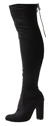 Laces Rear Zip Calf Over Faux Nylon The Slim Red Sexy Boots Black Stilleto Black Knee up Wide High Ladies Thigh Lycra Suede Heel Stretch Shoes ngxSqUv