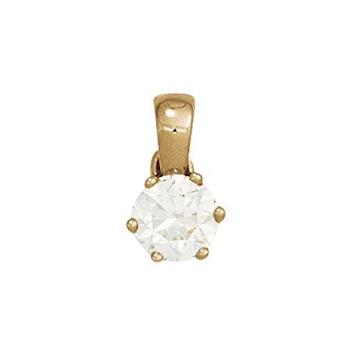 Solitaire diamant femme en 0,25 ct. pendentif brillant en or jaune 585