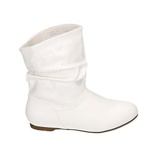 Jumex Damen Stiefeletten Western Stiefel Cowboy Boots Flache Schlupfstiefel Schuhe 89 Weiß