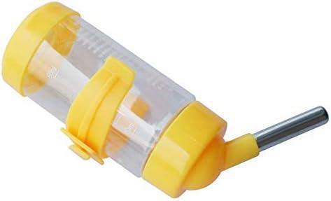 Alextry - Dispensador de Agua de hámster para Mascotas, plástico para Colgar la Fuente de alimento para Conejo de cobayas, Amarillo, Small