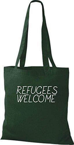 ShirtInStyle Bolso de mano Bolsa de algodón Refugiados welcome, refugiados, Mantente a la derecha, murió. Colores - fucsia Verde