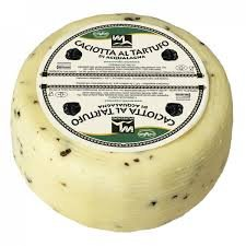 Cheese Caciotta al Tartufo 3Lb Wheel Black Truffle Cheese from Italy