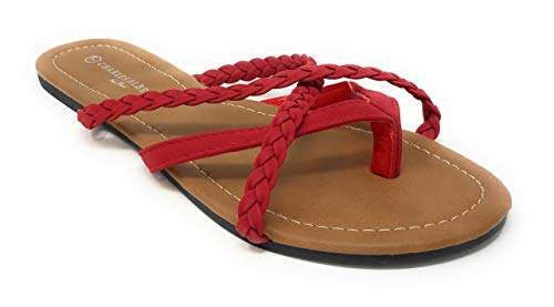Charles Albert Women's Strappy Braided Criss-Cross Thong-Toe Flip-Flop Sandal in Red Size: 8 ()