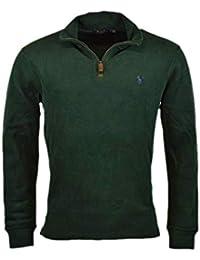 Mens Half Zip French Rib Cotton Sweater (Large, NW Pine)