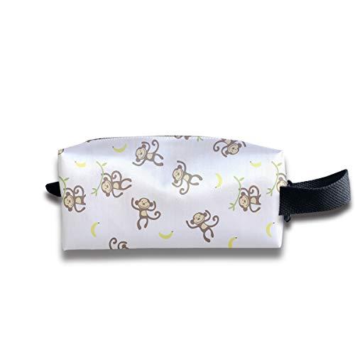 Clash Durable Zipper Wallet Makeup Handbag With Wrist Band Monkey Eat Bananas Toiletry Bag
