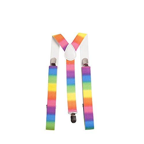 SUS005-Unisex Braces adjustable and elastic suspenders Y shape Novelty Rainbow Print (Suspenders Rainbow)