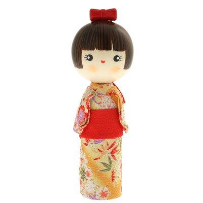 Usaburo Japanese Kokeshi Doll: Cute Komachi/Yellow #590-341 - Kokeshi Style Doll