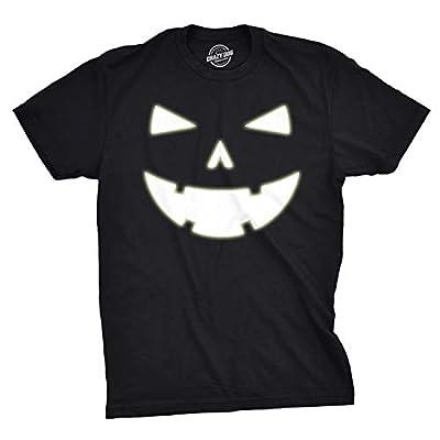 Mens Happy Tooth Glowing Pumpkin Face Glow in The Dark Halloween Tee