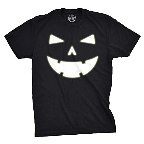 Mens Happy Tooth Glowing Pumpkin Face Glow in The Dark Halloween Tee (Black) - XXL]()