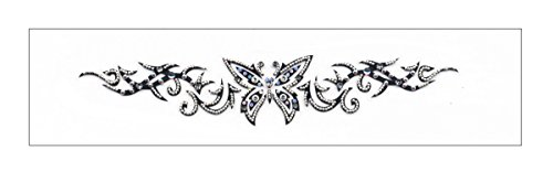 Jeweled Tribal Butterfly Lower Back Temporary Tattoo